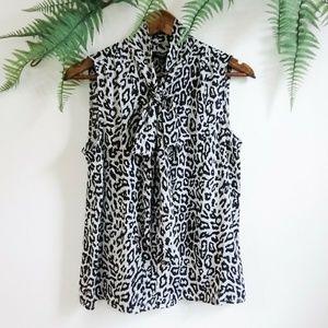 Premise Leopard Print Tie Neck Button Down Tank